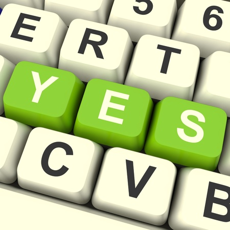 Yes Computer Keys In Green Showing Approval And Support Stock Photo - 12637316