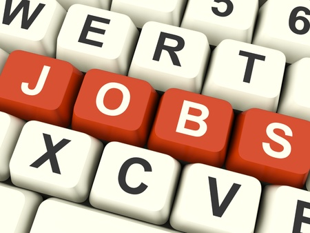 Jobs Red Computer Keys Showing Work And Careers Stock Photo - 12637496