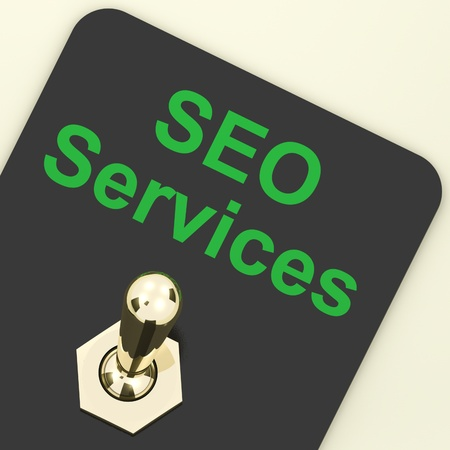 Seo Services Switch On Representing Internet Optimization And Promotion Stock Photo - 12637112