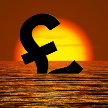Pound symbol Sinking And Sunset Showing Depression Recession And Economic Downturns Stock Photo - 12637685