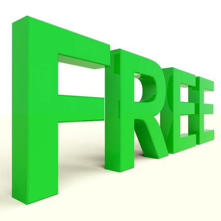freebie: Free Letters In Green Showing Freebie and Promotion Stock Photo