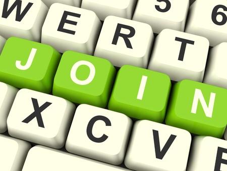 Join Key Computer En Suscripción de color verde y registros Foto de archivo