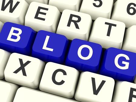 Blog Computer Keys Colored Blue For Blogger Website Stock Photo - 12637492