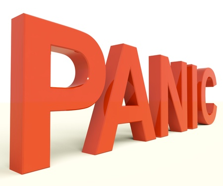 panicky: Panic Letters As Symbol for Emergency And Stress Stock Photo