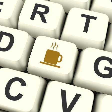 cansancio: Taza de caf� Icono de ordenador tecla blanca como s�mbolo para tomar un descanso