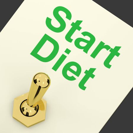 Start Diet Switch On Shows Dieting Or Slimming Beginning Stock Photo - 12637314