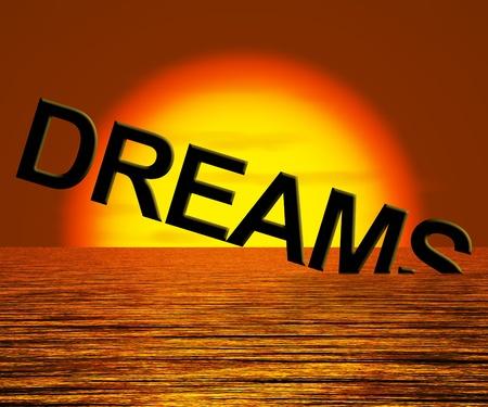unreachable: Dreams Word Sinking In The Sea Showing Broken Or Unreachable Dream