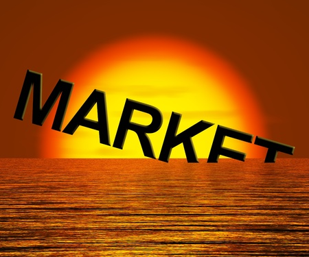 Market Word Sinking Showing A Depressed Economy Or Business Recession photo