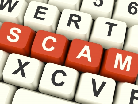 scamming: Scam Computer Keys Showing Swindles And Frauds Stock Photo