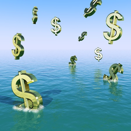bearish market: Dollars Falling In The Sea Showing Depression Recession And Economic Downturns Stock Photo