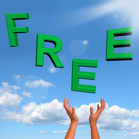 Free Word Falling In Green Showing Freebies and Promos Stock Photo - 12637522