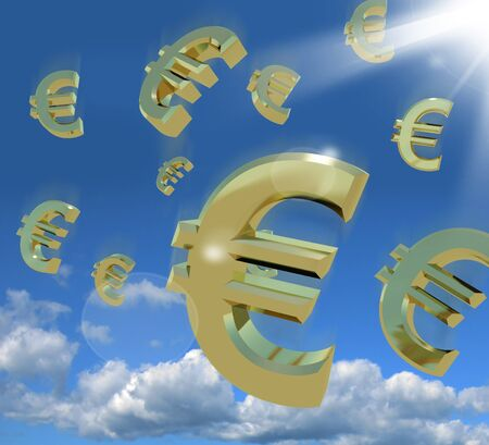 Euro Signs Falling From The Sky As A Sign Of Windfall Stock Photo - 12637633