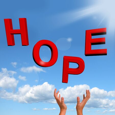 hoping: Catching Hope Word As Sign Of Wishing And Hoping