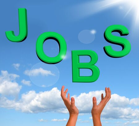 Catching Jobs Letters Showing Work And Careers Stock Photo - 12637627