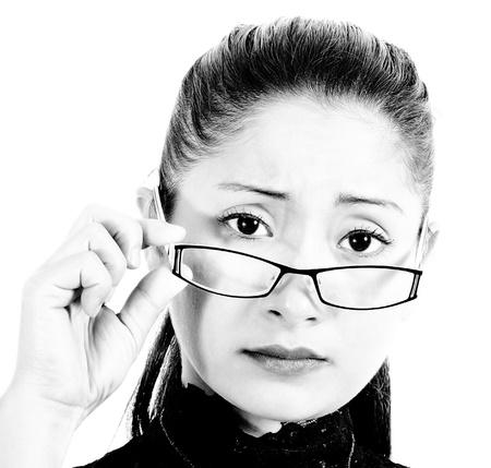 Worried And Intelligent Looking Woman Wearing Eyeglasses photo
