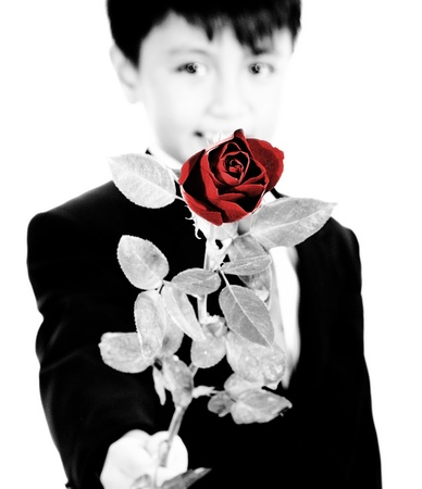 Young Boy Holding Up A Red Rose For A Girl photo