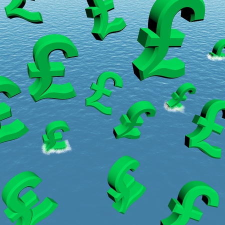 Pounds Dropping In The Sea Showing Depression Recession And Economic Downturns Stock Photo - 12637679
