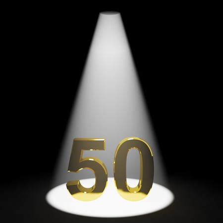 Gold 50th 3d Number Representing Anniversary Or Birthdays photo