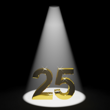 25 years old: Gold 25th 3d Number Representing Anniversary Or Birthdays