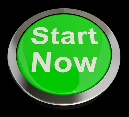 starting: Start Now Green Button Meaning To Commence Immediately Stock Photo