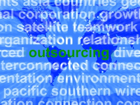 offshoring: Outsourcing Word Meaning Subcontracting Offshoring Or Freelancers Stock Photo