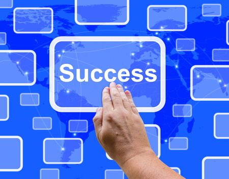 Success Button Being Pressed By A Hand Showing Achievement And Determination Stock Photo - 13480637