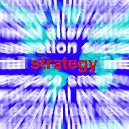 Strategy Word Showing Planning And Vision To Achieve The Goals photo