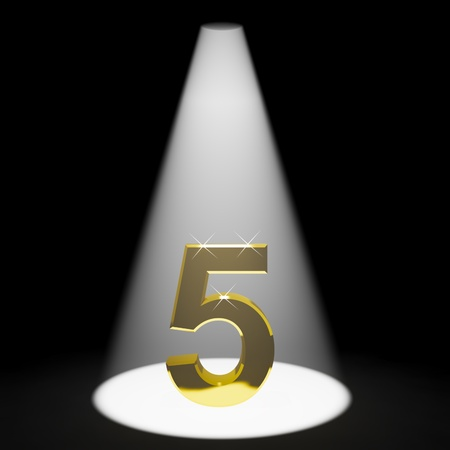 number 5: Gold 5th 3d Number Representing Anniversary Or Birthdays