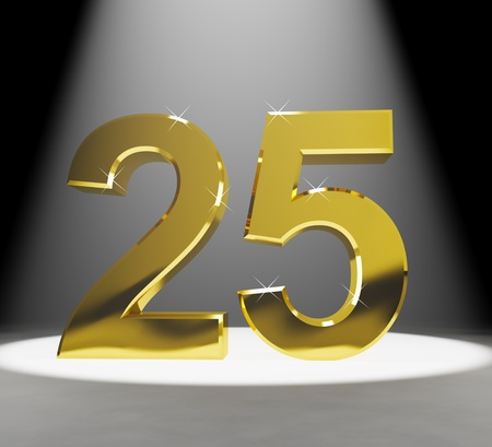 25 years old: Gold 25th 3d Number Closeup Representing Anniversary Or Birthdays Stock Photo