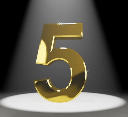 five year: Gold 5th 3d Number Closeup Representing Anniversary Or Birthdays