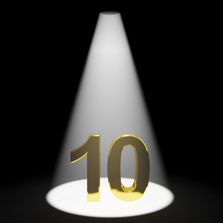 number ten: Gold 10th 3d Number Representing Anniversary Or Birthdays