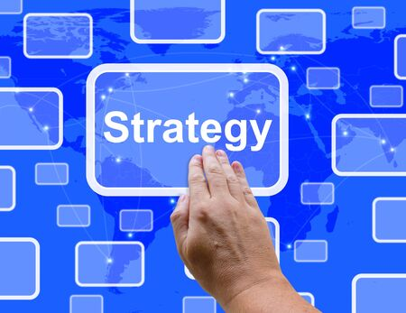 Strategy Button Showing Planning And Vision To Achieve Your Goals photo