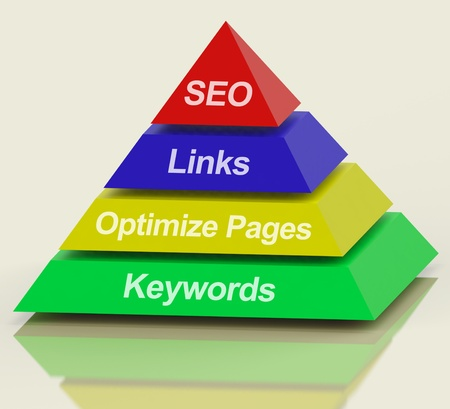 optimized: SEO Pyramid Showing Use Of Keywords Links And Optimizing Stock Photo