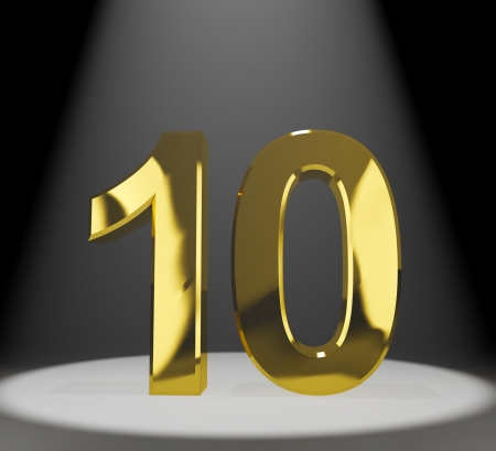 ten year old: Gold 10th 3d Number Closeup Showing Anniversary Or Birthday Stock Photo