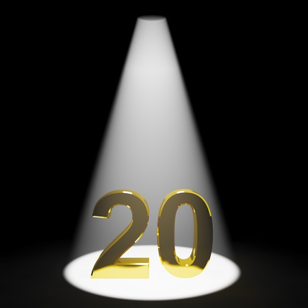 20: N�mero de Oro 3d vig�simo aniversario o cumplea�os Mostrando Foto de archivo