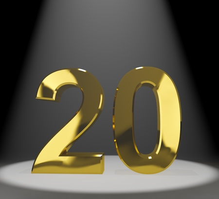 20th: Gold 20th 3d Number Representing Anniversarys Or Birthdays