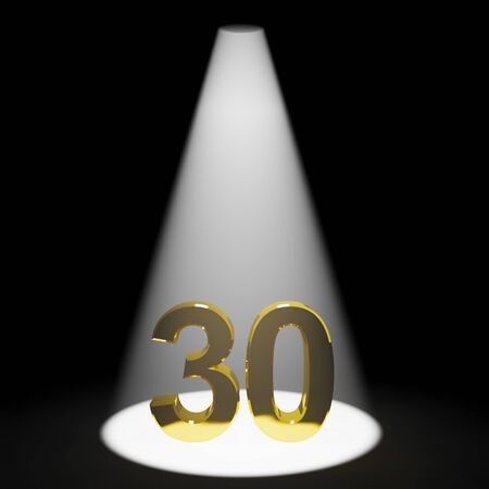 Gold 30th 3d Number Representing Anniversarys Or Birthdays Imagens