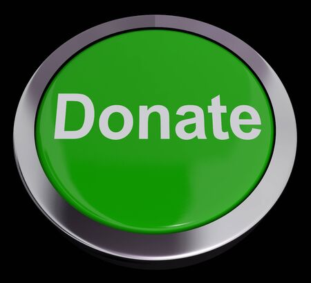 gifting: Donate Button Green Showing Charity And Fundraising Stock Photo