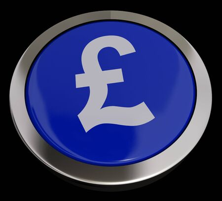 Pound Symbol Button In Blue Showing Money And Investments Stock Photo - 13480822