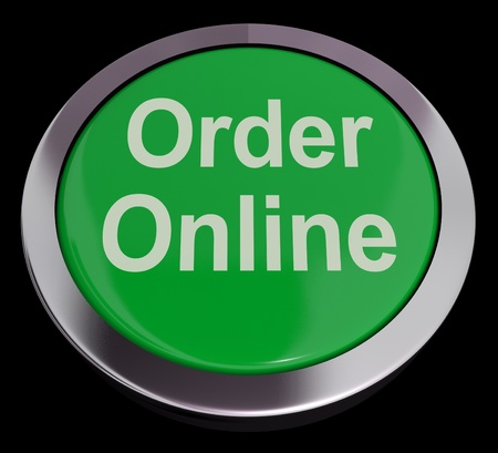 order online: Order Online Button In Green For Purchasing On The Web Stock Photo