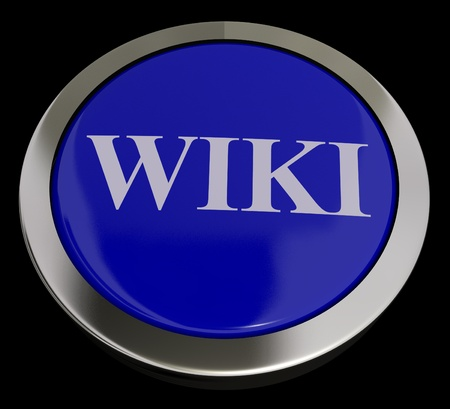 encyclopedias: Wiki bot�n para obtener informaci�n en l�nea o enciclopedias Foto de archivo