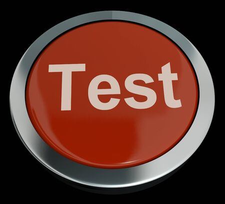 Test Button In Red Showing Quiz Or Online Questionnaires Stock Photo - 13480760