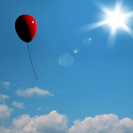 red balloon: Red Balloon Soaring Representing Freedoms Or Being Alone Stock Photo