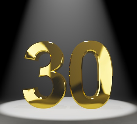30 years: Gold 30th 3d Number Closeup Representing Anniversary Or Birthdays Stock Photo
