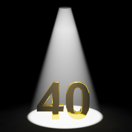 40: Gold 40th 3d Number Closeup Representing Anniversary Or Birthdays