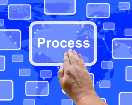 Pushing A Process Button Representing Controlling A System Stock Photo - 13480673