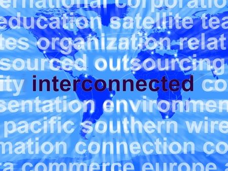 interconnected: Palabra interconectados en un Mapa que muestra las redes mundiales