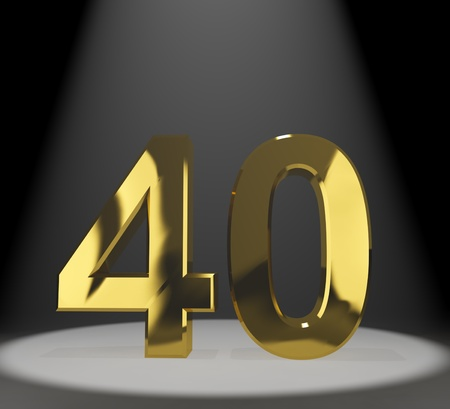40th: Gold 40th 3d Number Representing Anniversary Or Birthdays
