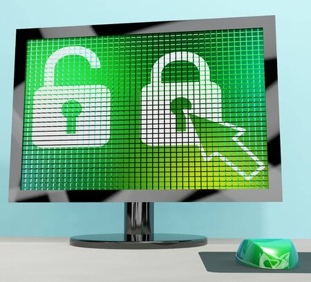 Padlock Icon On A Computer Screen Showing Safety Security And Protected Stock Photo - 13480490