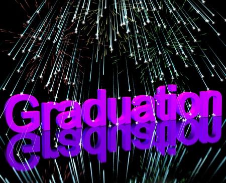 graduation party: Graduation Word With Fireworks Shows School Or University Graduation